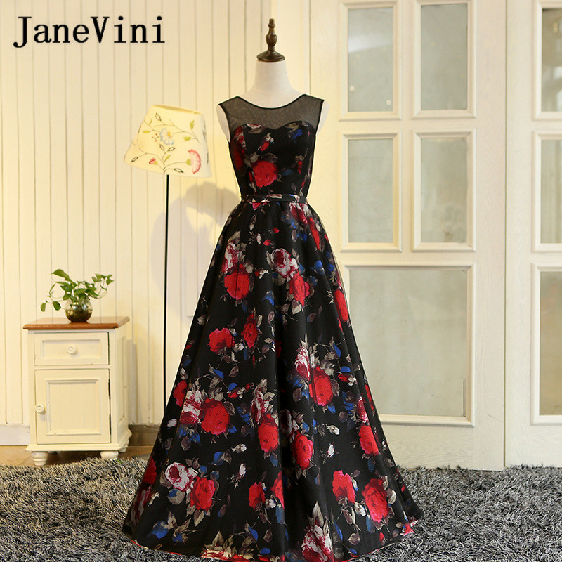 JaneVini 2018 Floral Print Long Prom   Dresses   Black Tulle Red Flowers Pattern   Bridesmaid     Dresses   Girl Formal Wedding Party Gowns