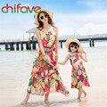 Chifave 2016 nuevo verano mamá hija family dress clothing mangas volantes chicas lindas y mamá vestido de arco vestido de la manera ropa