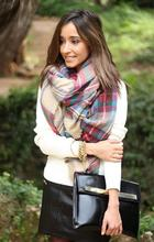 Lady Women Blanket Oversized Tartan Scarf Wrap Plaid Checked Pashmina