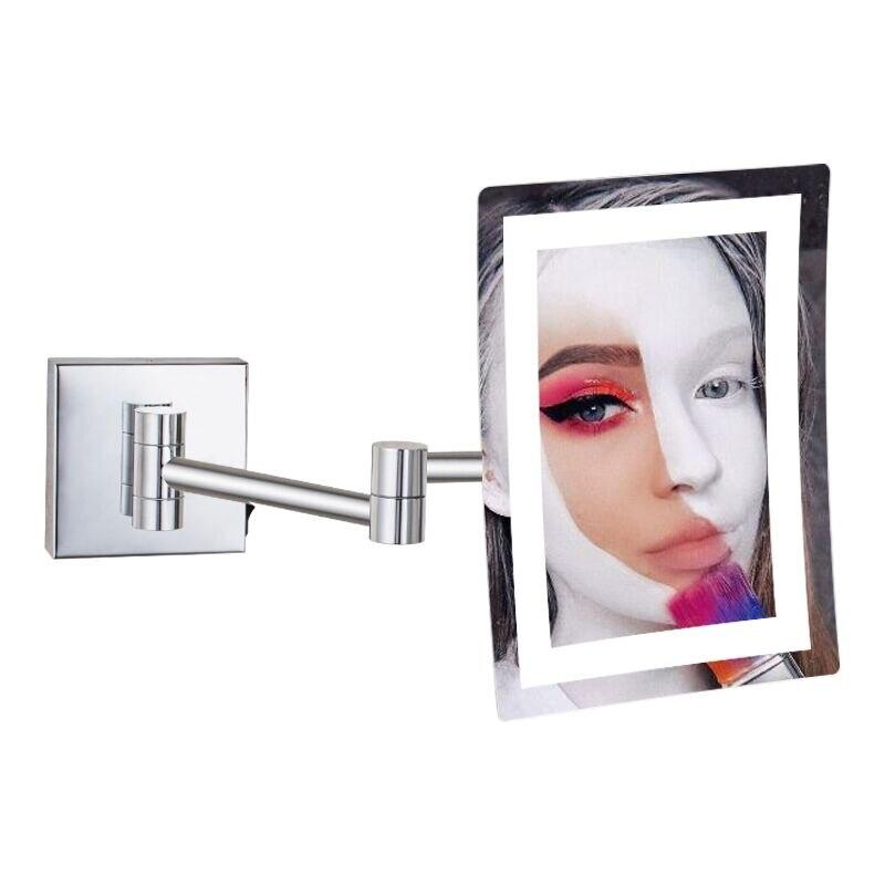 GURUN Frameless Rectangle Glamour LED Lighted 3X Magnifying Makeup Mirrors Wall Mounted Bathroom Shaving Mirror Chrome