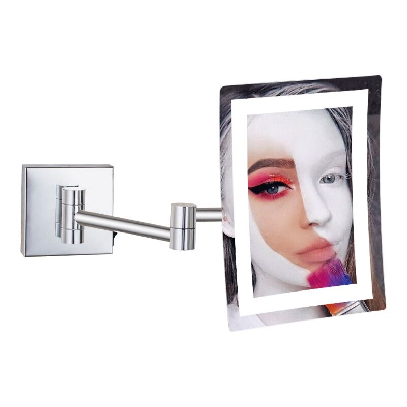 GURUN Frameless Rectangle Glamour LED Lighted 3X Magnifying Makeup Mirrors Wall Mounted Bathroom Shaving Mirror Chrome Polished GURUN Frameless Rectangle Glamour LED Lighted 3X Magnifying Makeup Mirrors Wall Mounted Bathroom Shaving Mirror Chrome Polished