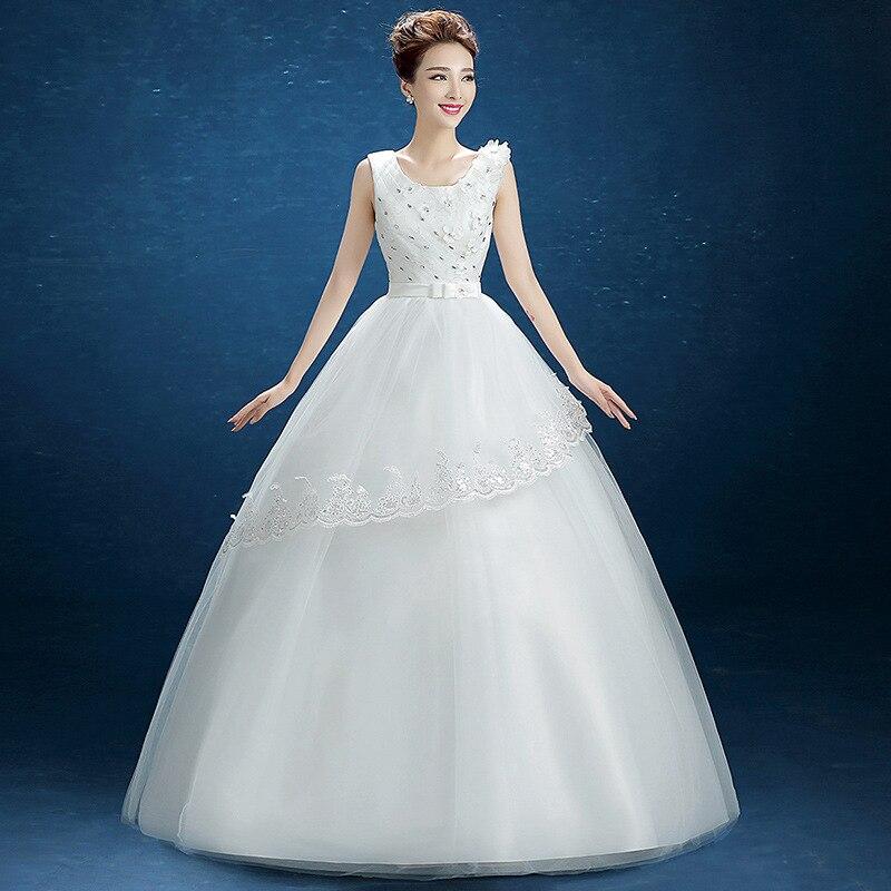 Backalckgirls Wedding Dress Full Dress 2018 Hot  New Arrival Thin Bride Marry Sleeveless Beading Ball Gown O-neck Wedding Dress