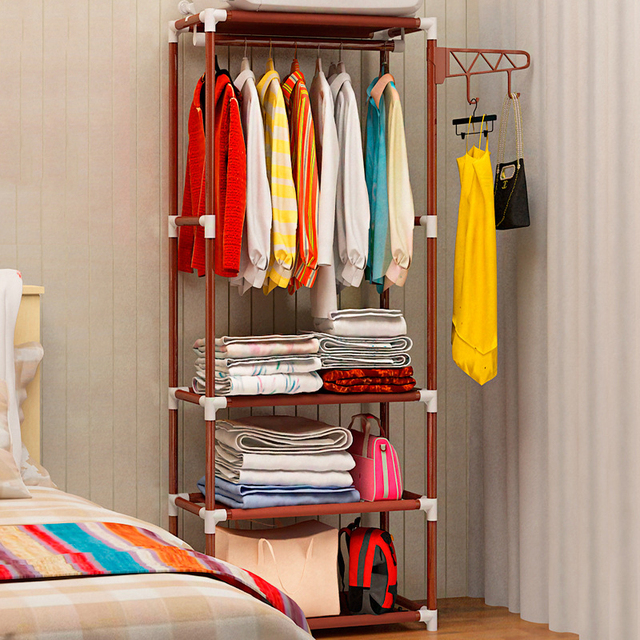 Actionclub Simple Metal Iron Coat Rack Floor Standing Clothes Hanging Storage Shelf Hanger Racks Bedroom