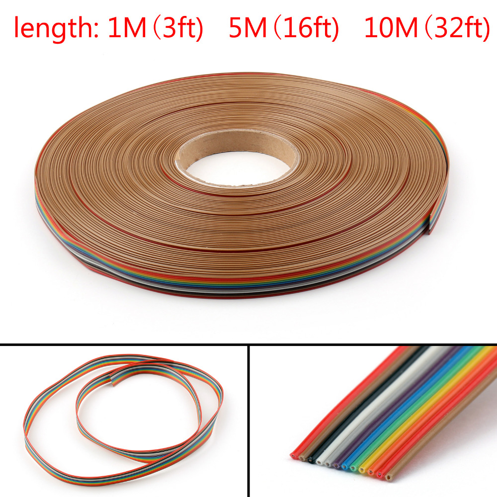 Areyourshop 12Pin Color Rainbow Ribbon Wire Cable Flat 1.27mm ...