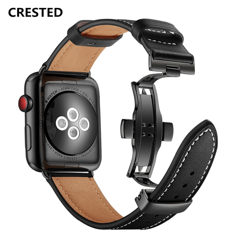 CRESTED Butterfly Loop For Apple watch band strap 42mm 38mm Leather bracelet iwatch series 3/2/1 Wrist bands Watchband Belt crested woven nylon strap for apple watch band 42mm 38mm leather iwatch series 3 2 1 wrist bands bracelet watchband belt 2018