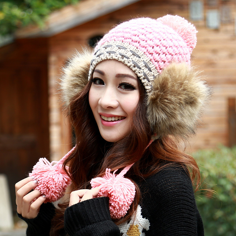 все цены на  BomHCS Luxurious Fashion Winter Women Warm Handmade Knit Hat Lady Hair Ball Ear Muff Knitted Hat Beanie Wool Crochet Cap  онлайн