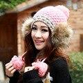 Lujo moda invierno mujeres Warm hechos a mano de punto señora sombrero bola de pelo del oído Muff punto Hat Beanie Wool Cap ganchillo