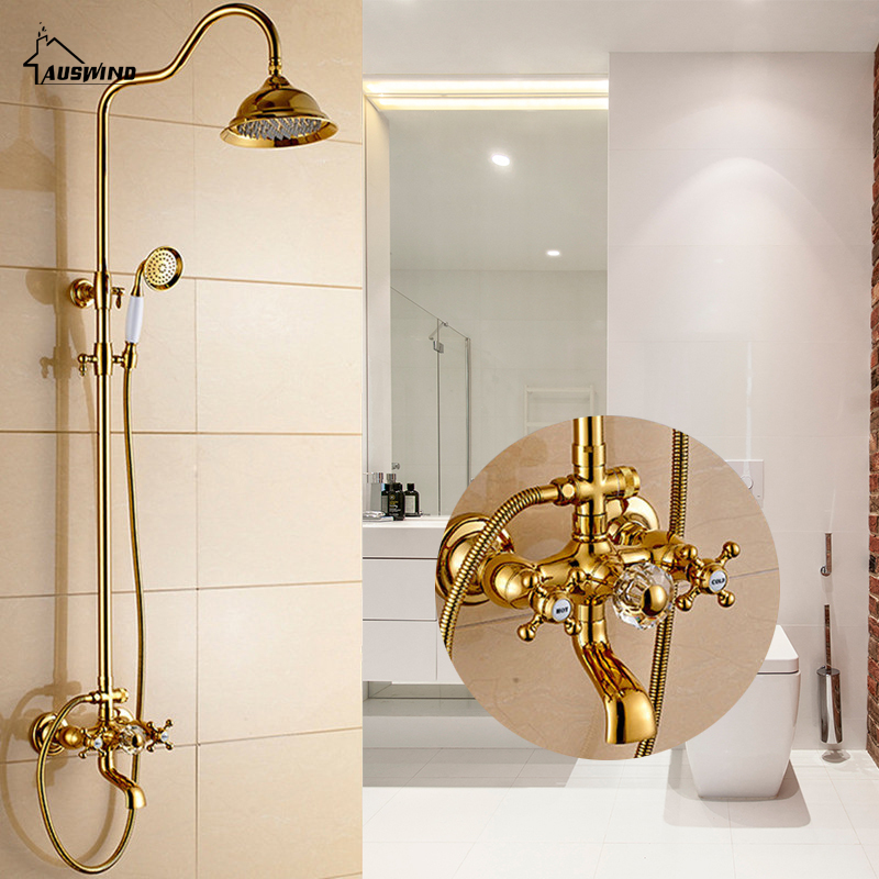 Antique Gold Brass Faucet Bathroom Shower Suit European Rain Head Retro wall mounted shower set with complete accessories