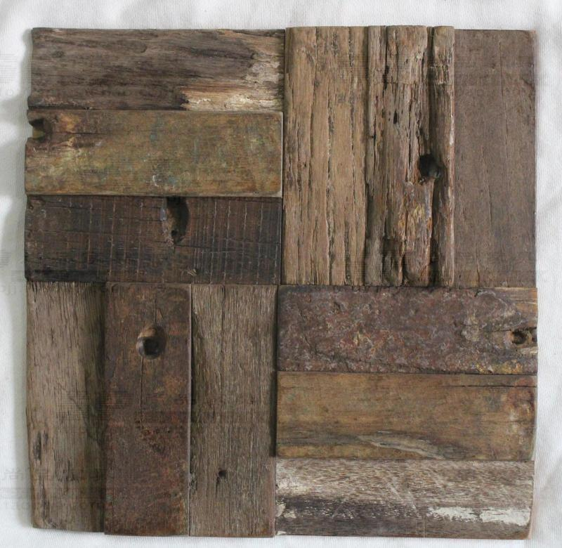 Wood Tile Kitchen Backsplash: Rustic Log Old Wood Mosaic Tile Kitchen Backsplash Tile