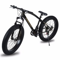 26X21 Inch 7 Speed Steel Frame Fat Tire Snow Bicycle Double Disc Braking System Big Mountain