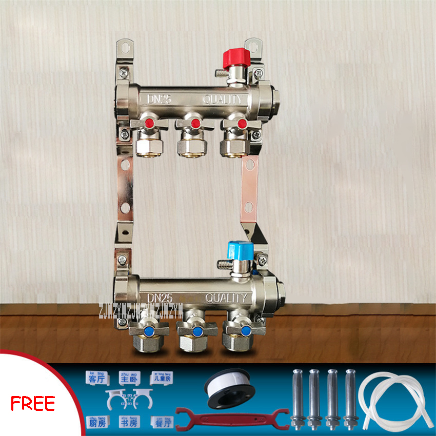 Movable Joint Floor Heating Manifold 3/4/5/6 Way Geothermal Water Separator Valve Divider Knockout Drum Trap Set Segregator