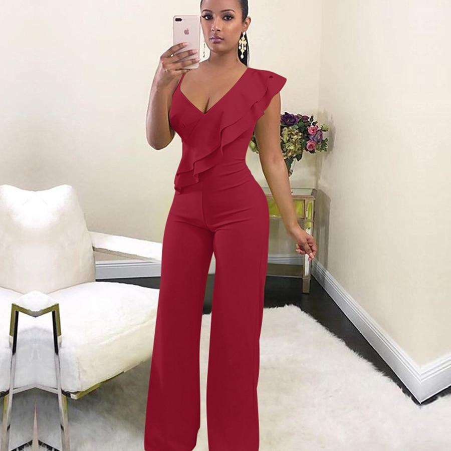 FANIECES Off shoulder women jumpsuit Elegant stylish jumpsuit Layered ruffles high waist jumpsuits Female overalls streetwear