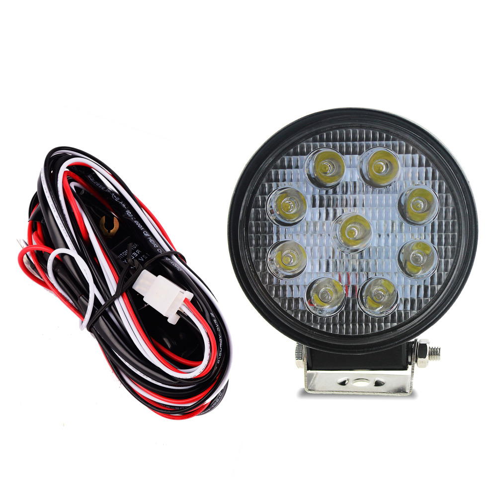 Iztoss Round Led Work Light 27w Spot Driving Lamp Waterproof Fog Wiring Lights With Harness For Truck Car Offroad Jeep In Assembly From
