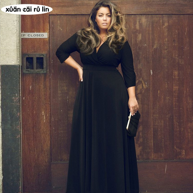 88ee57a157f78 PLUS size blaCK runway autumn tunic dress for fat 2018 women high quality long  sleeve maxi elegant dress Floor Length vestidos