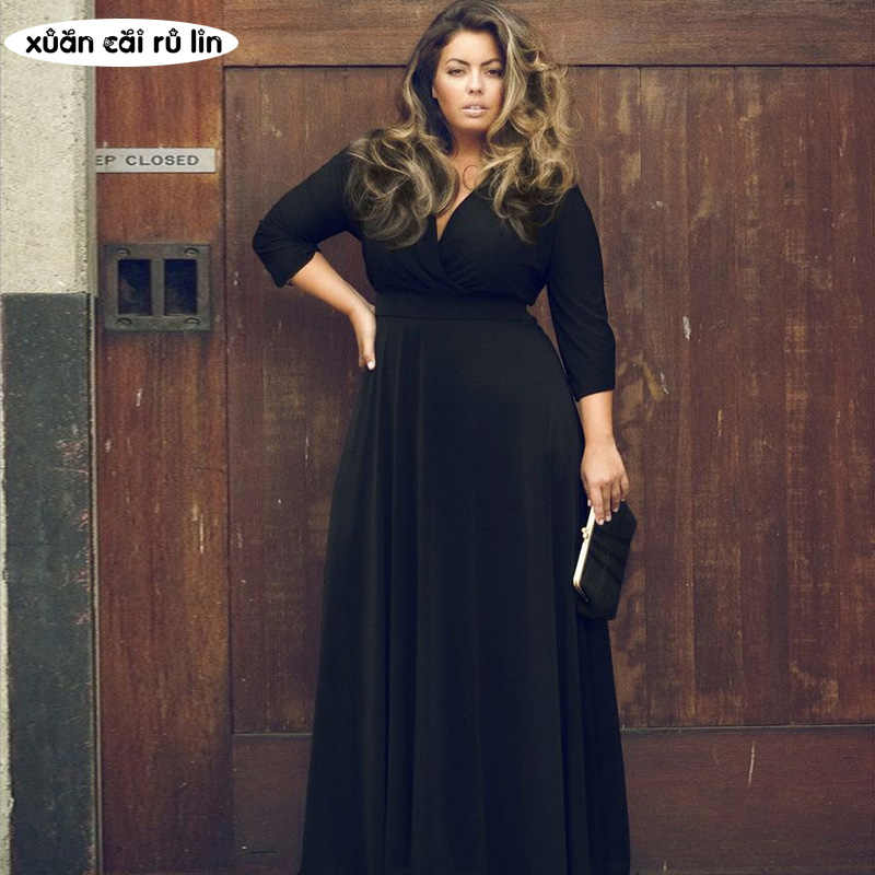 PLUS size blaCK runway autumn tunic dress for fat 2018 women high quality  long sleeve maxi elegant dress Floor Length vestidos