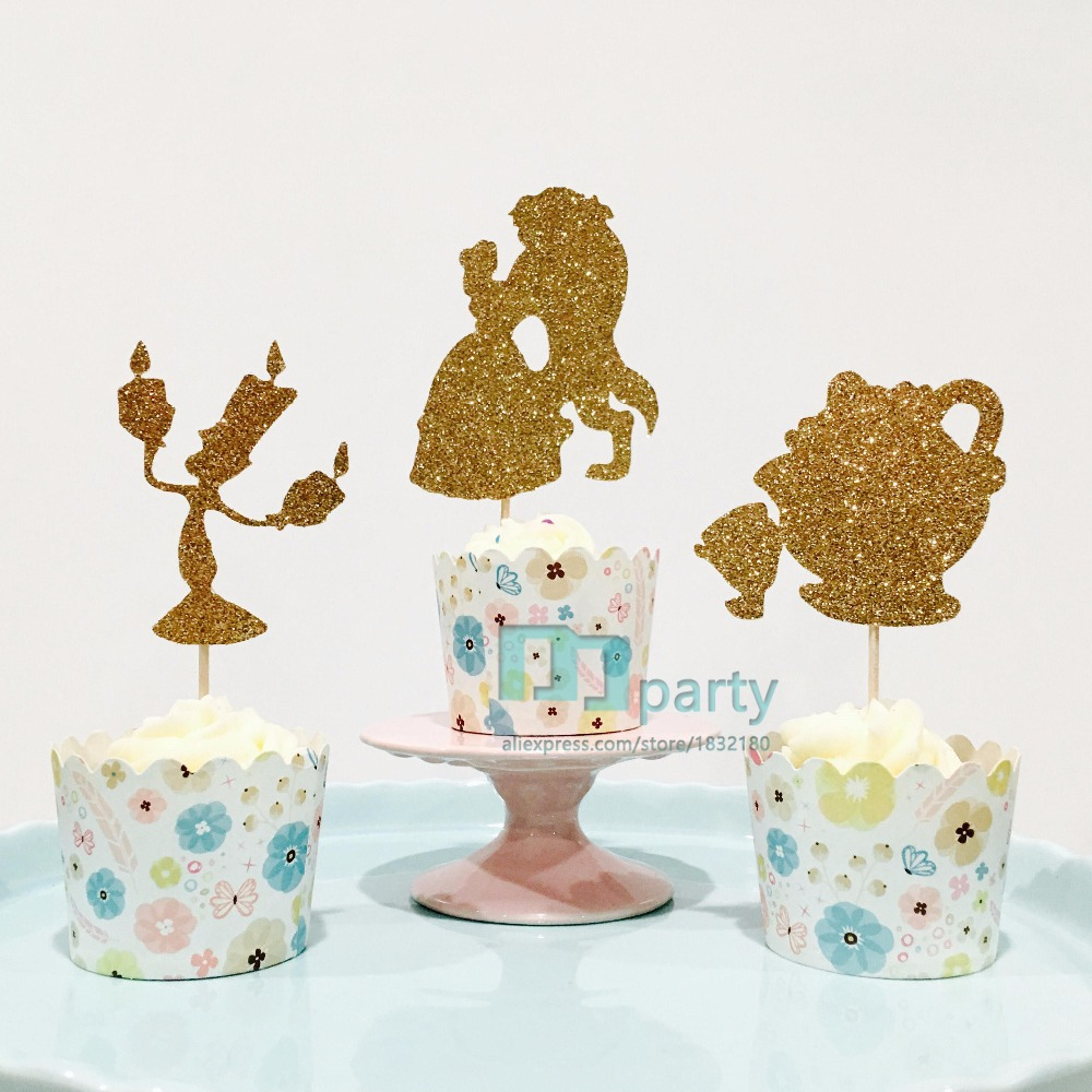 12ct beauty and the best cupcake toppers, 12ct belle cupcake toppers, beaty and beast cupcake toppers