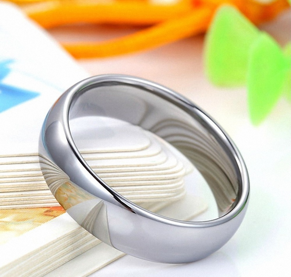 5mm Domed White Tungsten Carbide Wedding Band Engagement ring Comfort Fit US Size 5-12