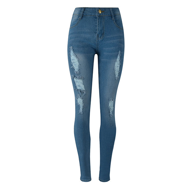 Europe New Fashion Women Trousers Slim Blue Jeans Woman Ripped Hole Jeans with High Waist Female Pencil Pants Large Size S-2XL
