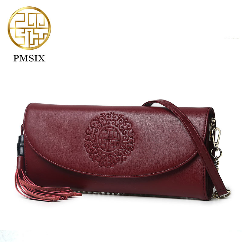 PMSIX National Retro Women Bag New Leather Embroidery Shoulder Bag Female Chinese Style Casual Art Small Bags Wine Red  P420037 100 super cute little embroidery chinese embroidery handmade art design book