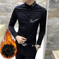 Men Shirts Slim Fit Unique Winter Warm Shirt Social Dress Chemise Homme Letter Embroidery Men Blouse Masculina Camisetas Hombre