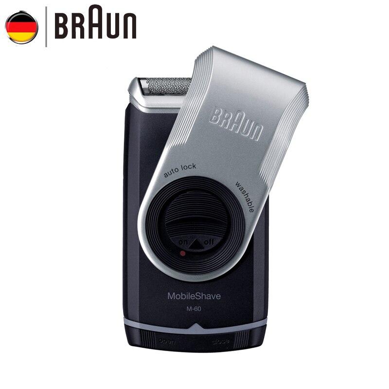Braun Barbeador Elétrico M60 Lavável Barbeador Elétrico com Bateria para Homens Portátil Rosto Cuidados Com o Cabelo Bigode Navalha de Segurança