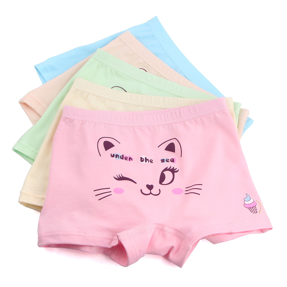 5pcs/lot Underpants Briefs Girls Cute Kitty Underwears   Panties   Infant Boxers Briefs Shorts Cotton Cartoon Teenagers Underwears