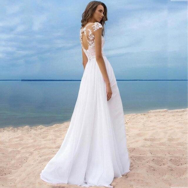 LORIE Boho Wedding Dress Scoop A-Line Appliques Chiffon Bride Dress Custom Made High Split  Wedding Gown Free Shipping 2019 1