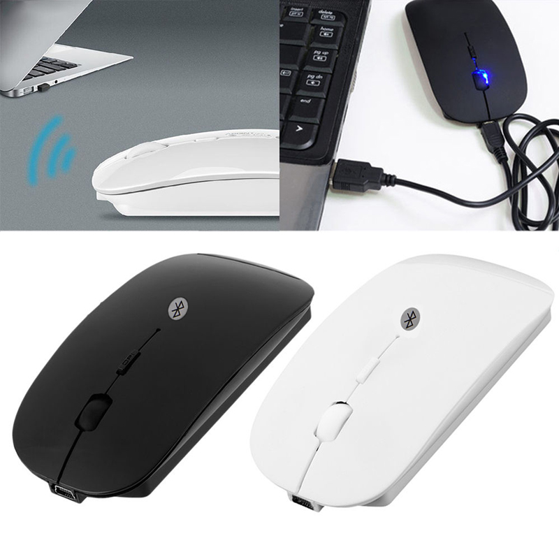 Rechargeable USB Bluetooth 3.0 Wireless Mouse Mute Silent Click Mini Noiseless Optical Mouse 1600 DPI for PC Laptop Tablet