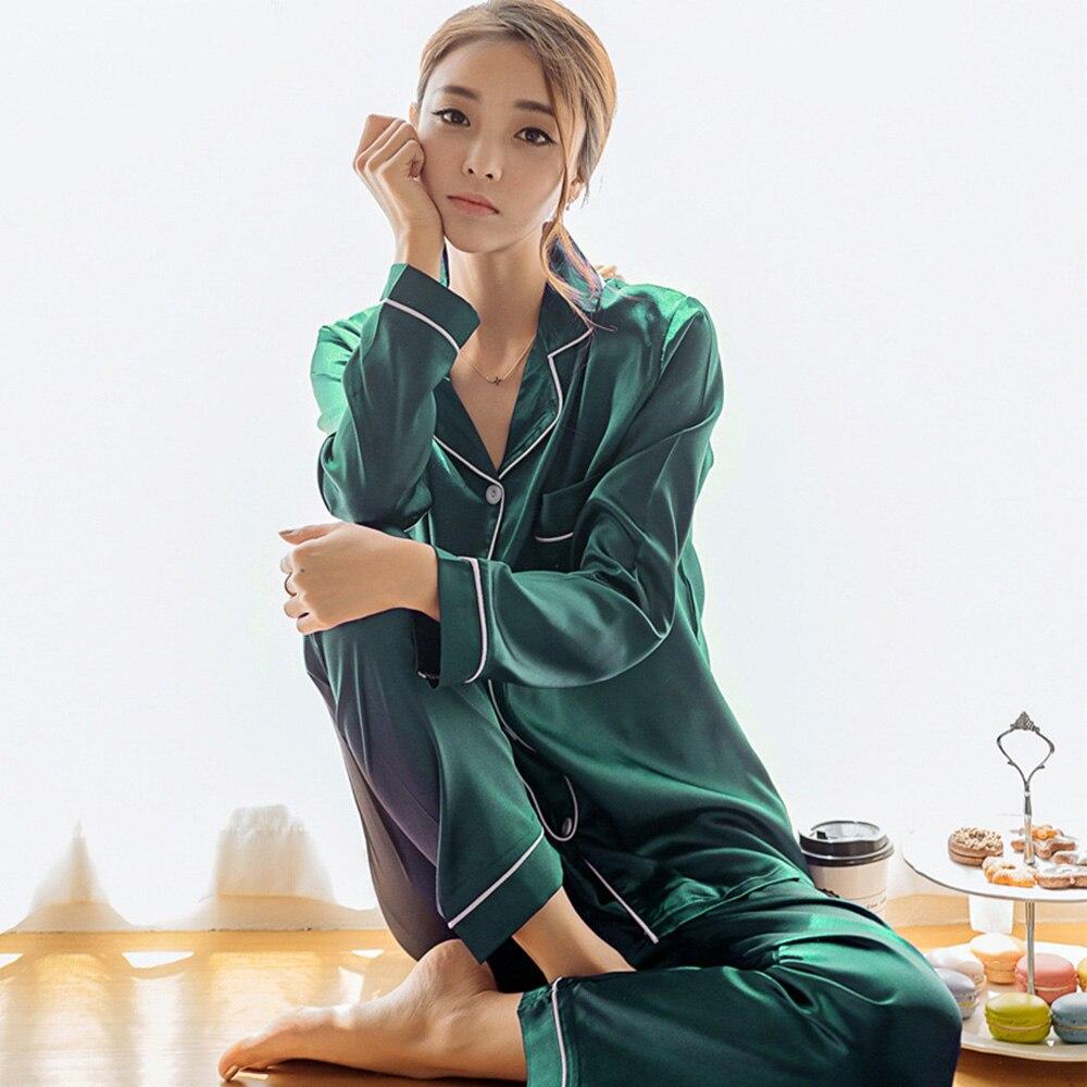 Satin Pajamas Silk Plus Size Couple Pajama Sets Women Korean Casual Home Sleepwear Set Pink Autumn Pijama Mujer Underwear 2019