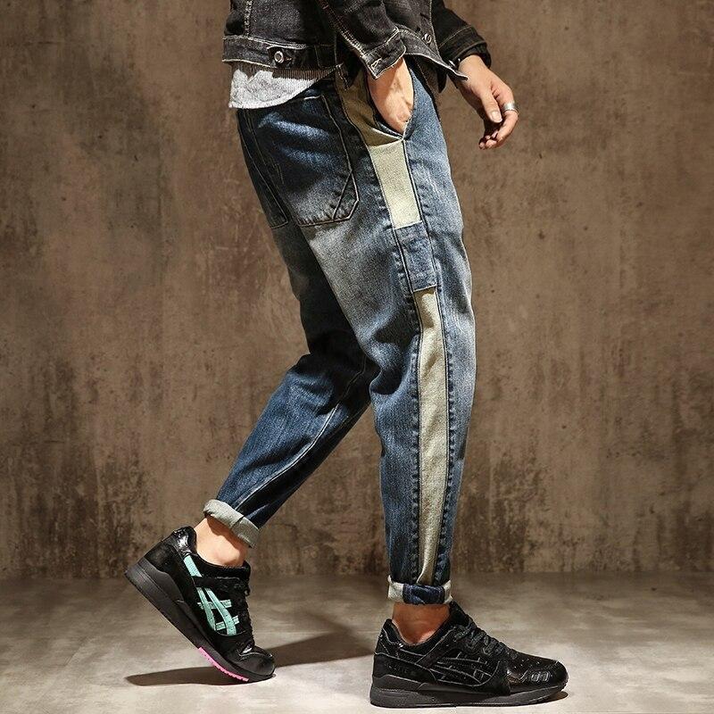 Plus Size Male Jeans Winter Chic Patchwork Men Pencil Pants Chic Loose Stylish Musculine Harem Pants Washed Trousers MK0001 plus size striped harem pants
