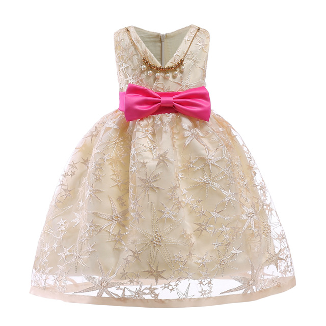 ab1565fc865e Lace Sequins Formal Evening Wedding Gown Tutu Princess Dress with Necklace Flower  Girls Clothing Kids Girl