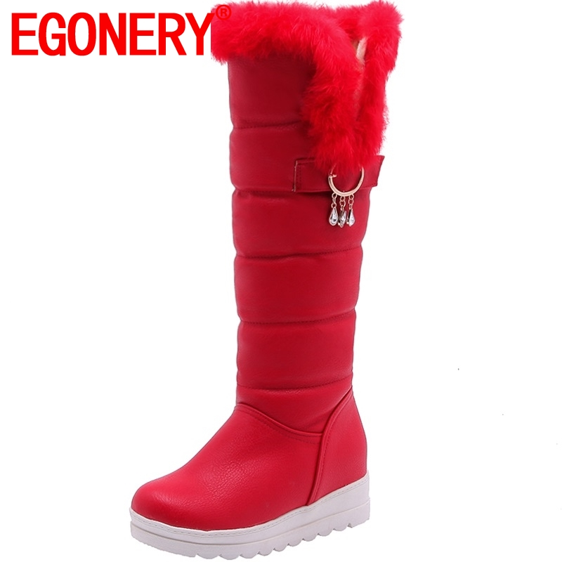 EGONERY watertight crystal String Bead party sexy Knee High Down snow boots spring winter girl woman
