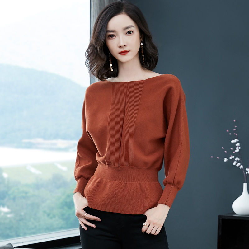 2018 New Women   Shirts   Slash neck Batwing Knitting Full Sleeve Render A Sweater   Blouse     Shirt   Red Black Caramel Color 6956