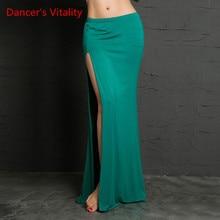 Одежда для танца живота, 4 цвета, профессиональные длинные юбки с разрезом, Женская юбка, недорогая юбка для танца живота