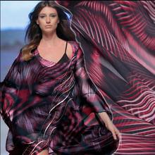 Red Thin abstract geometric print thick 6 mm silk chiffon fabric dress tweed wed