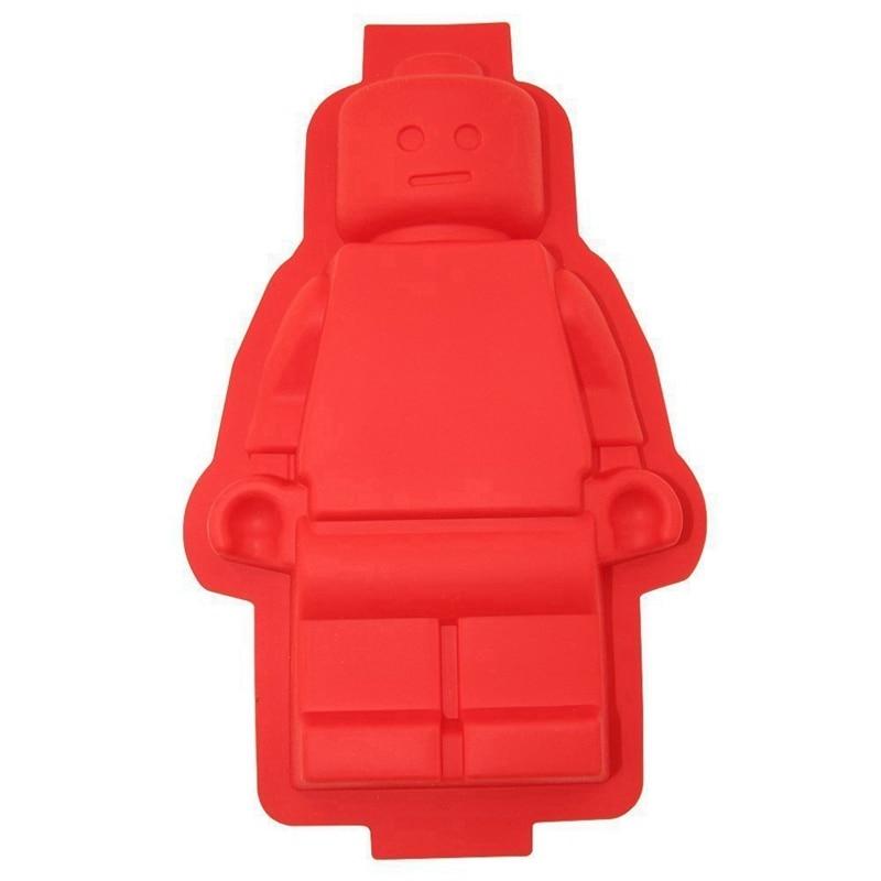 1pcs Big Robot Cake Chocolate Pan silikon ais acuan Lego acuan coklat acuan baking dish silikon Lego acuan alat penghias