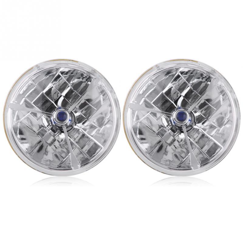 1pair 7 Blue Dot Tri Bar H4 Headlight Clear Lens for Ford Chevy Nova 55 56