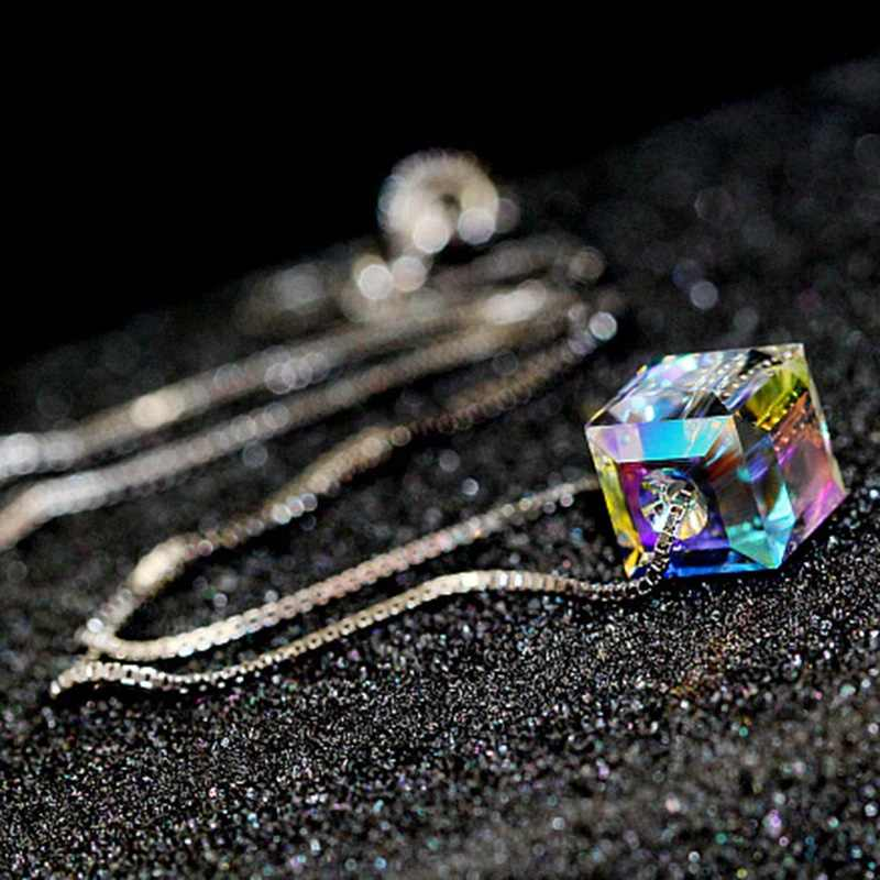 Colorful Cube Square Crystal Pendant Necklace Fashion Cube Silver Color Chain Charming Luxury Statement Clavicle Necklace