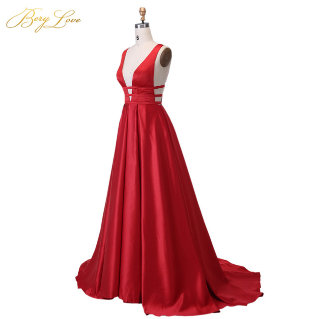 Berylove Sexy Red Evening Dress 2019 Elegant Satin Evening Gown Long Formal Abiye Prom Party Dress vestido longo festa 04010248 3