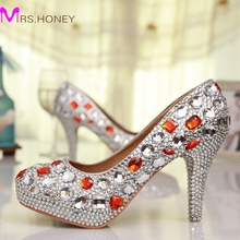 Free Shipping Luxury Handmade Silver Rhinestone Red Crystal Wedding Shoes Round Toe High Heel Bridesmaid Shoes Prom High Heels
