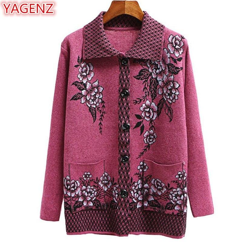 YAGENZ Moda Suéter Mulheres Casaco Jaqueta Primavera Outono Plus Size Mulheres Flores Cardigan Casaco Camisola de Malha Mulher Roupa Tops 573