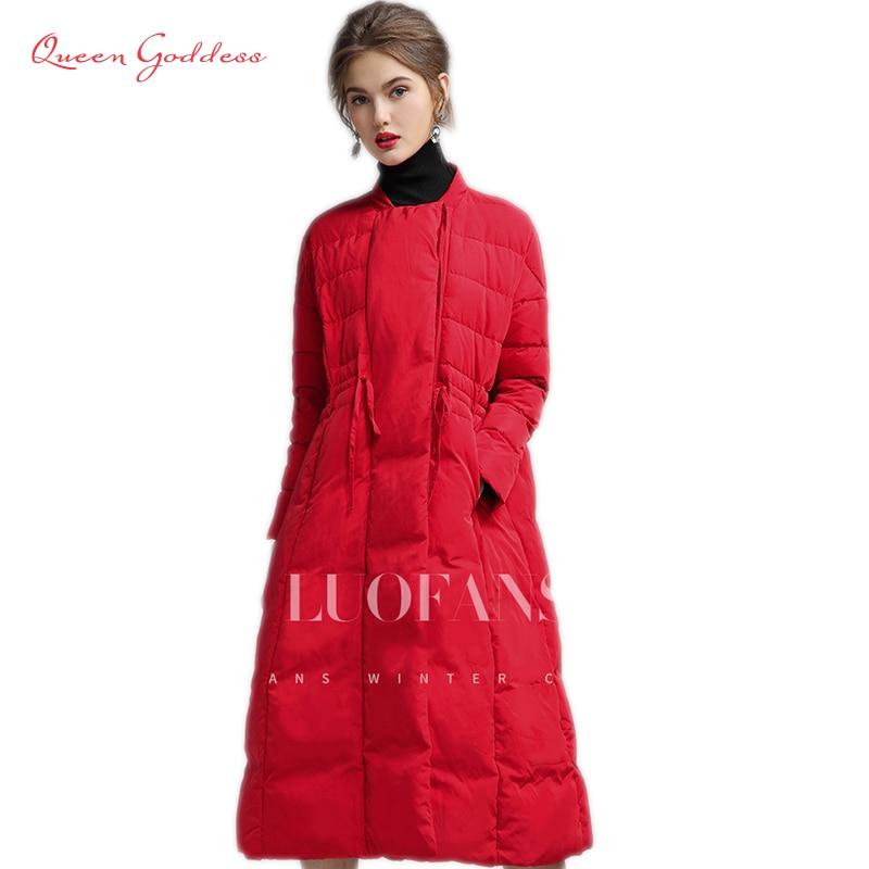 Hiver et Automne chaud vers le bas long manteau femme 90% blanc duvet de canard des femmes vers le bas veste plus la taille parkas outwear TOP VENTE