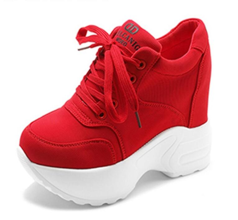 Women Sneakers Mesh Casual Platform Trainers White Shoes 10CM Heels Autumn Wedges Breathable Woman Height Increasing Shoes  9