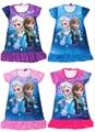 1Piece Retail HOT Snow Queen Elsa Anna Girls Short Sleeve Cartoon Dress Summer Girl Pajamas Nightgown Sleepwear Nightie Dresses