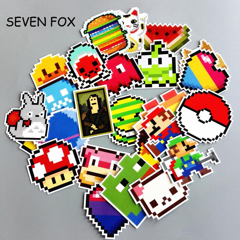 SEVEN FOX 25Pcs/lot Cartoon Mario Pixel Style Sticker For Car Laptop Luggage Skateboard Backpack Tables Case Decal Kids Toy Stic