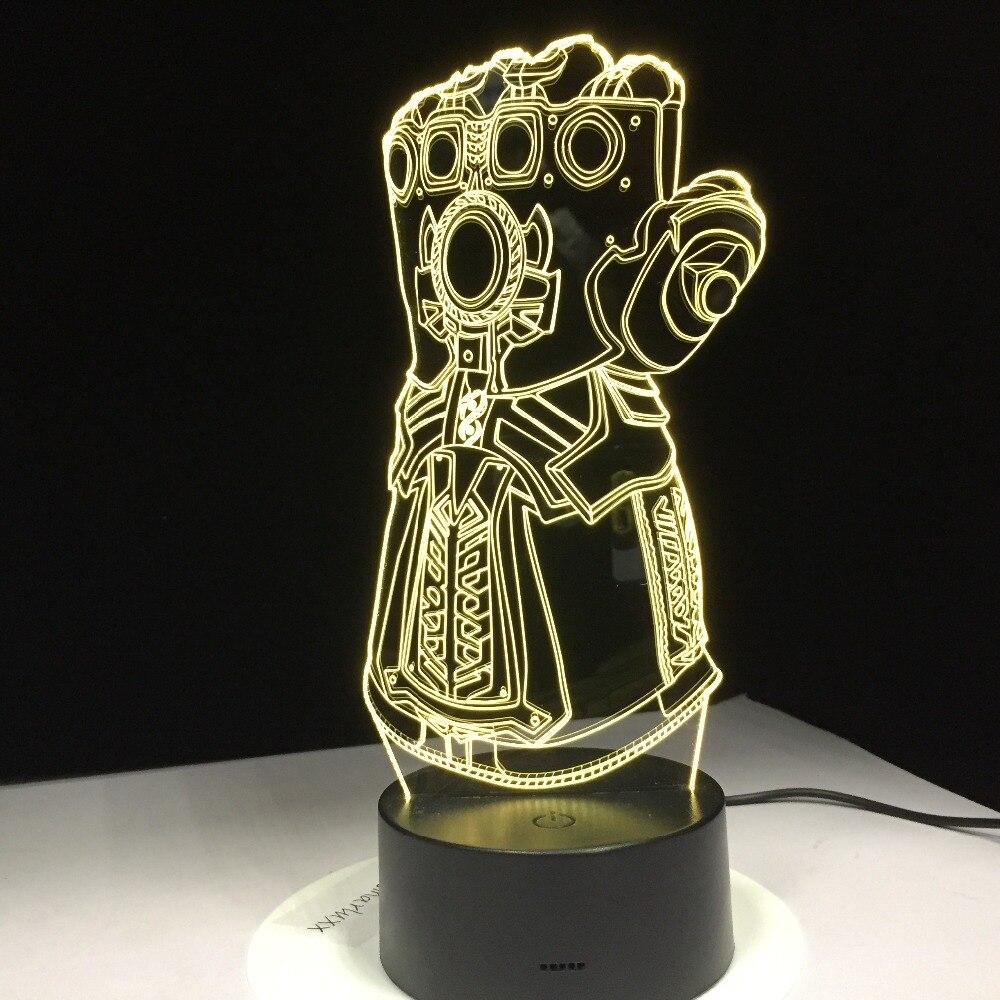 Thanos Infinity Gauntlet Мстители Бесконечность война перчатки 3D ночные светильники LED Изменение 3D новинка свет креативная настольная лампа Прямая по...