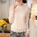 2017 New Summer Ladies White Blusas Women's Long Sleeve Chiffon Lace Crochet Tops Blouses Women Clothing Feminine Blouse 51C