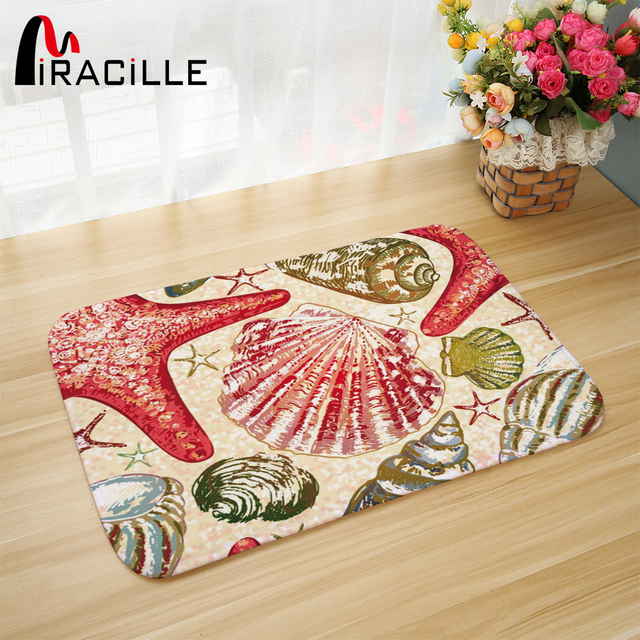 Miracille Rugs and Carpets for Home Living Room Marine Organism Sea Star  Shell Sea Horse Printed Anti slip Bathroom Kitchen Mat-in Mat from Home &