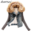 Winter Jacket Women 2016 Autumn Fashion Casual Basic Patchwork Hit Color Denim Jackets Female Short Fur Collar Coat AE-ME-226