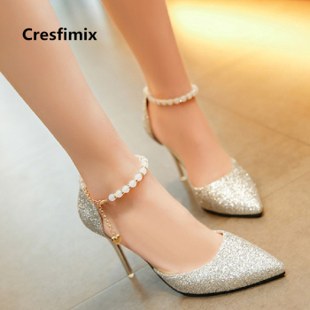 Cresfimix women sexy party silver high heel shoes lady cute comfortable spring & summer 8cm high heels wedding shoes a2432